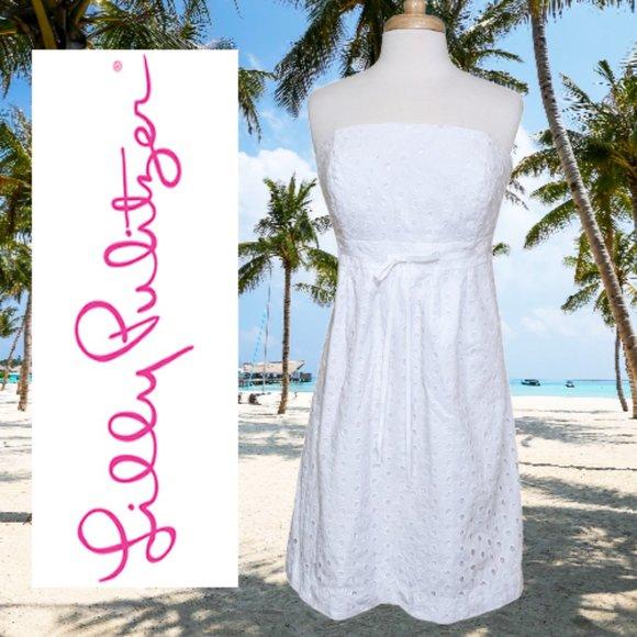 LILLY PULITZER White Oval Eyelet Strapless Betsey Dress sz. 12